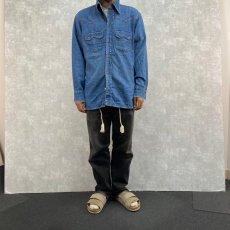 画像2: 70's LEVI'S オレンジタブ デニムウエスタンシャツ L (2)