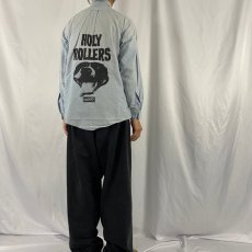 """画像5: 90's USA製 DISCHORD RECORDS """"HOLLY ROLLERS"""" インディーレコードレーベル プリントシャンブレーシャツ 16-34 (5)"""