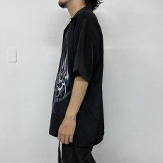 画像7: ファイヤーパターン オープンカラーポリシャツ L (7)
