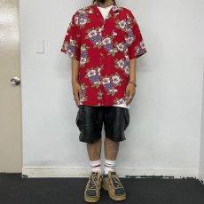 画像2: BANANA REPUBLIC ハイビスカス柄 Rayon hawaiian shirt L (2)
