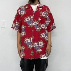 画像3: BANANA REPUBLIC ハイビスカス柄 Rayon hawaiian shirt L (3)