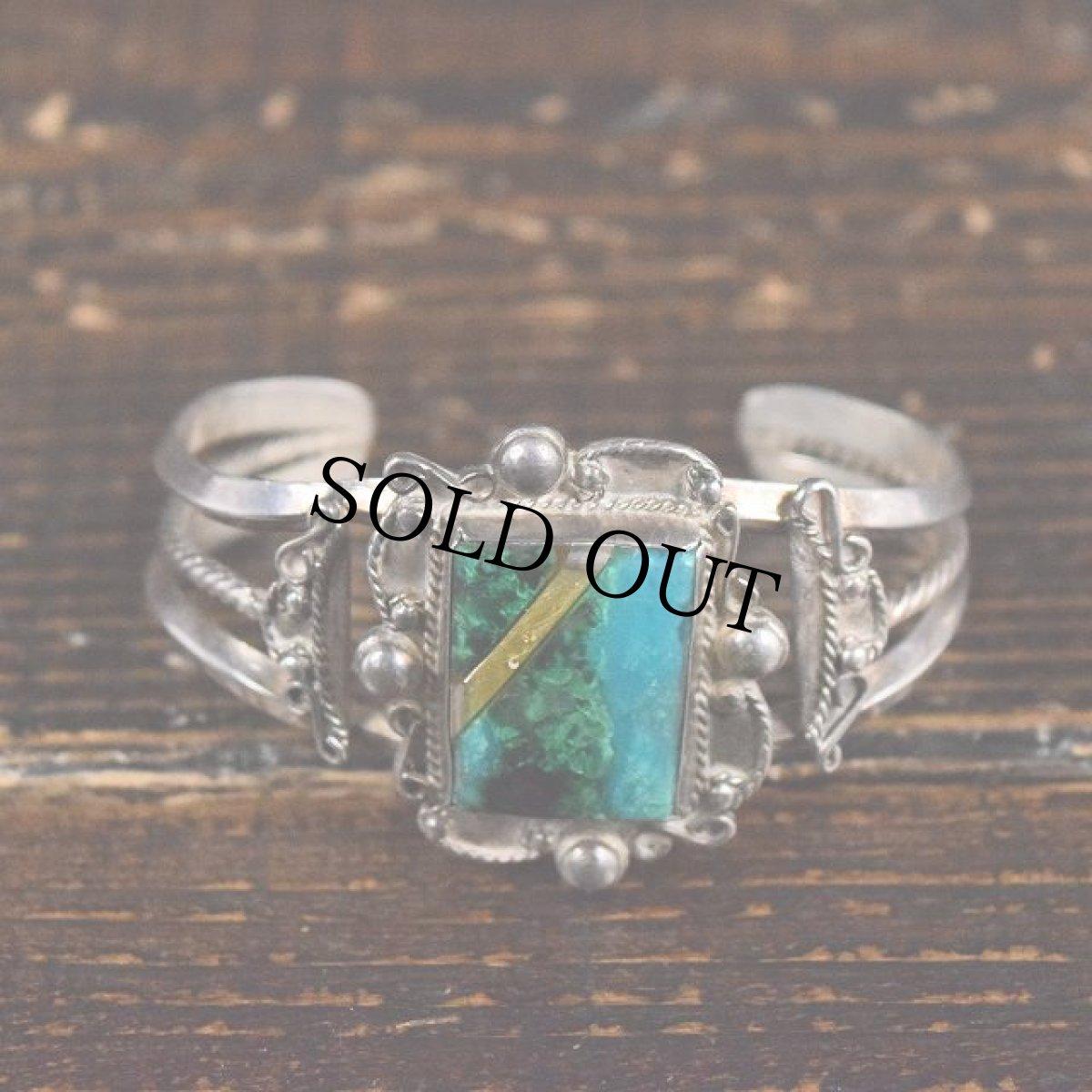 画像1: VINTAGE Turquoise Inlay Silver Cuff Bracelet (1)