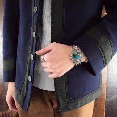 画像2: VINTAGE Turquoise Inlay Silver Cuff Bracelet (2)
