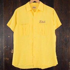 画像2: 50's〜60's Hilton パッチ付き チェーンステッチボーリングシャツ (2)