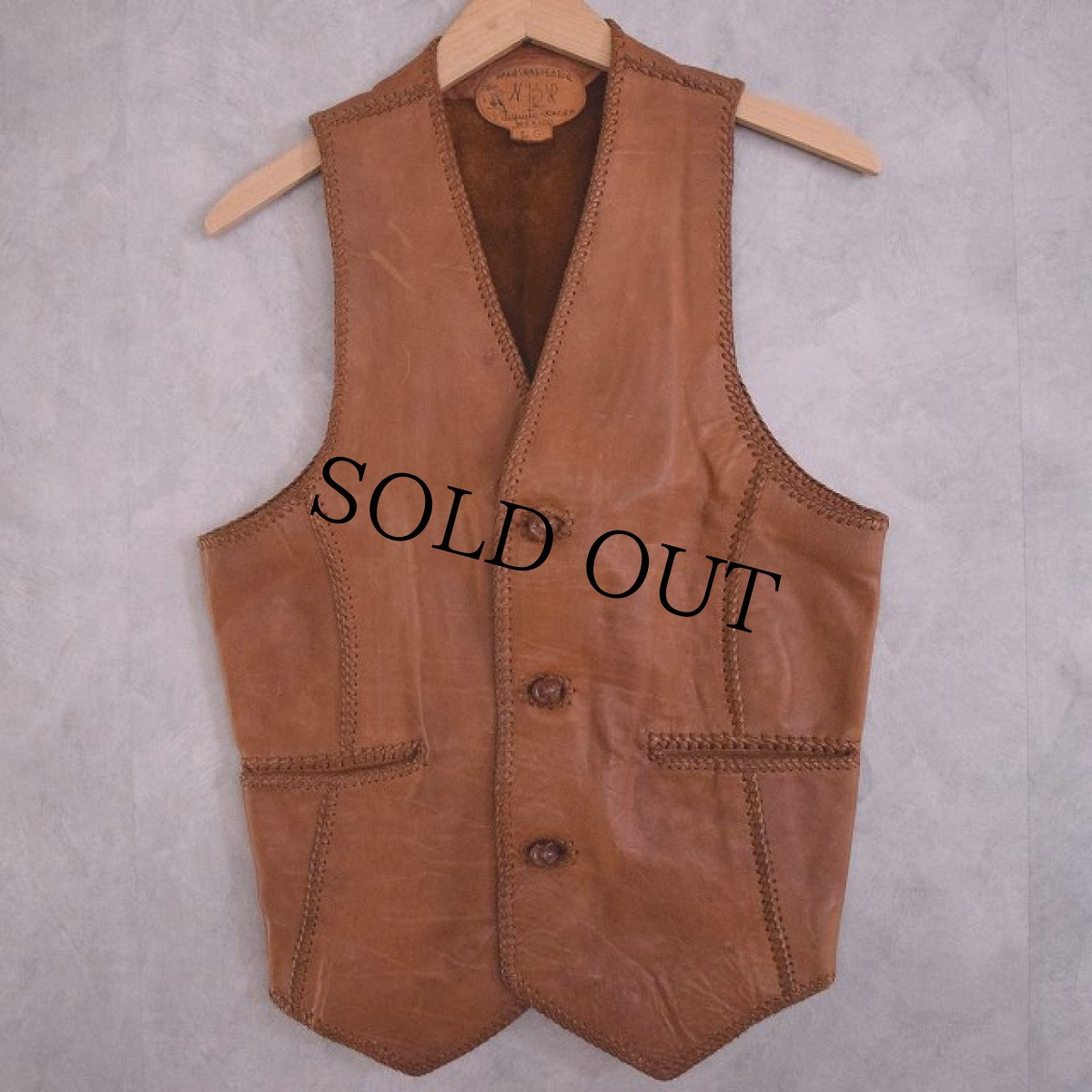 画像1: 70's North Beach Hand Crafted Leather Vest (1)