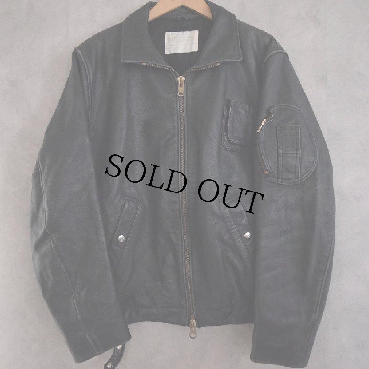 画像1: French Military Leather Pilot Jacket BLACK (1)