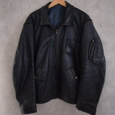 画像2: French Military Leather Pilot Jacket NAVY (2)