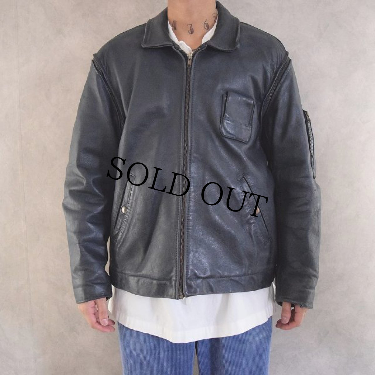 画像1: French Military Leather Pilot Jacket NAVY (1)