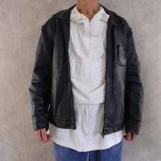画像4: French Military Leather Pilot Jacket NAVY (4)