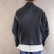 画像6: French Military Leather Pilot Jacket NAVY (6)