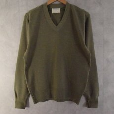 画像1: 70's BRITISH ARMY Vneck Knit Sweater (1)