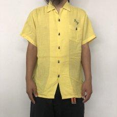 画像4: 50〜60's  チェーンステッチ Linen Bowling Shirt  (4)