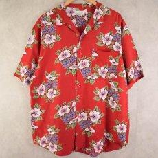 画像1: BANANA REPUBLIC ハイビスカス柄 Rayon hawaiian shirt L (1)