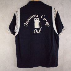 "画像1: 50〜60's Air flo ""Jarmers Co-op Oil"" フロッキープリント Bowling Shirt (1)"