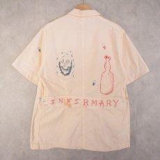 画像2: 60's ''INFIRMARY'' Hand painted Memorial S/S Jacket L (2)