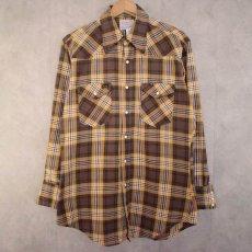 画像1: 70's Wrangler USA製 チェック柄 ウエスタンシャツ (1)