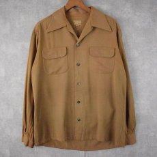 画像1: 40's〜 オープンカラーギャバジンシャツ M (1)