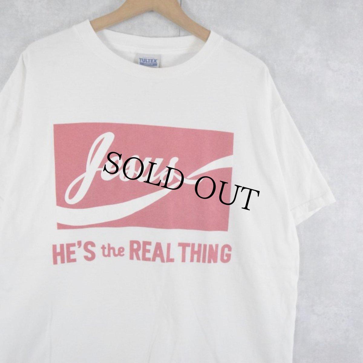 """画像1: 90's〜 Jesus """"HE'S the REAL THING"""" プリントTシャツ L (1)"""