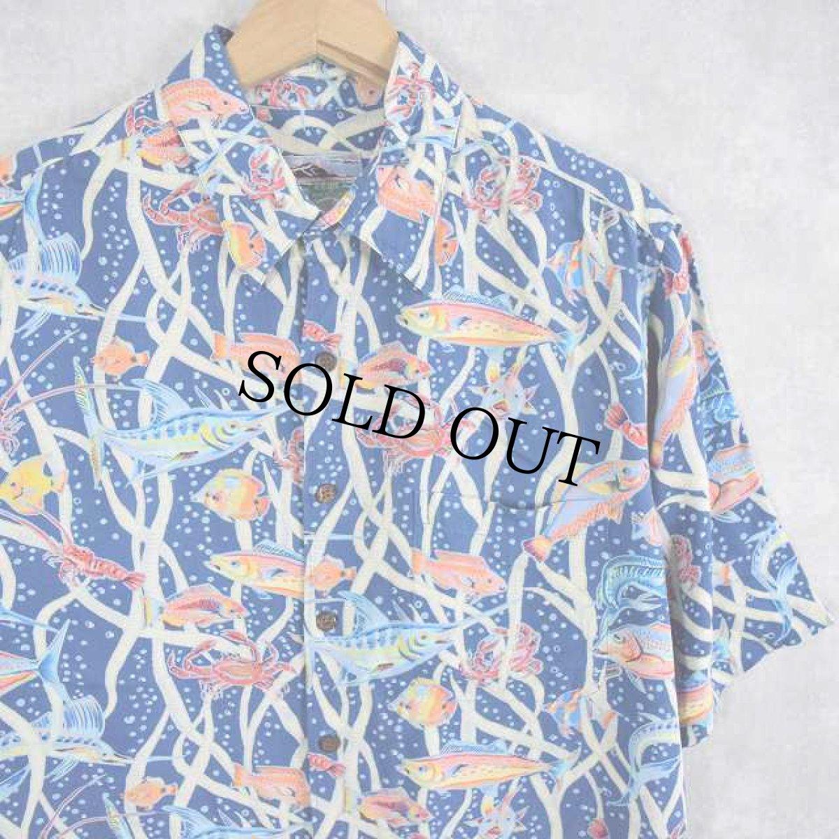 画像1: 80's〜90's Reyn Spooner 魚柄  アロハシャツ M (1)