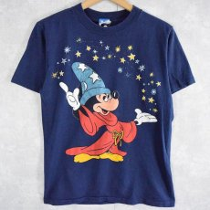 画像1: 90's Disney USA製 ファンタジアミッキープリントTシャツ M (1)