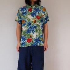 画像3: 60's South Pacific パイナップル×ハイビスカス柄 レーヨンアロハシャツ (3)