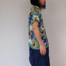 画像4: 60's South Pacific パイナップル×ハイビスカス柄 レーヨンアロハシャツ (4)