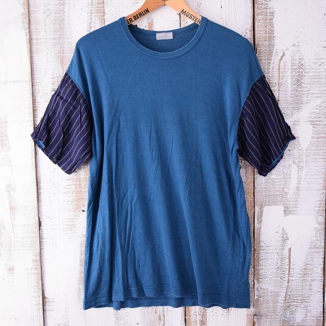 画像1: COMME des GARCONS ストライプ切替Tシャツ (1)