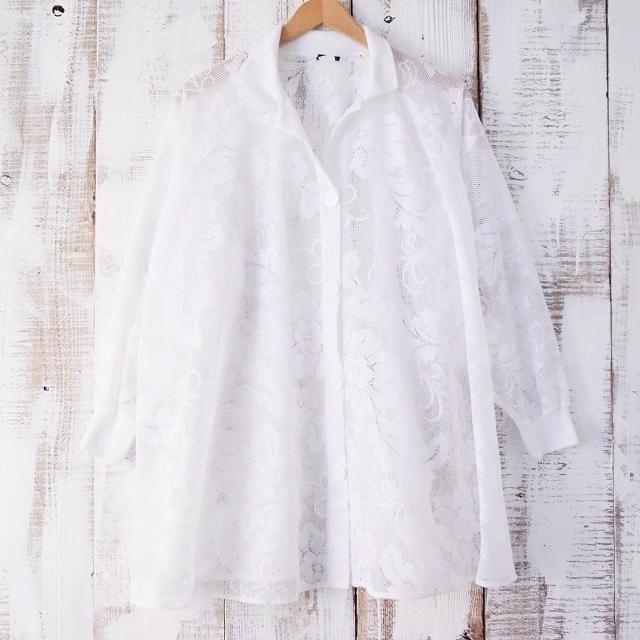 画像1: 花柄レースワイドシャツ (1)