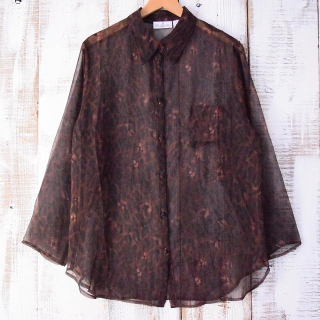 画像1: レオパード柄シースルーシャツ (1)