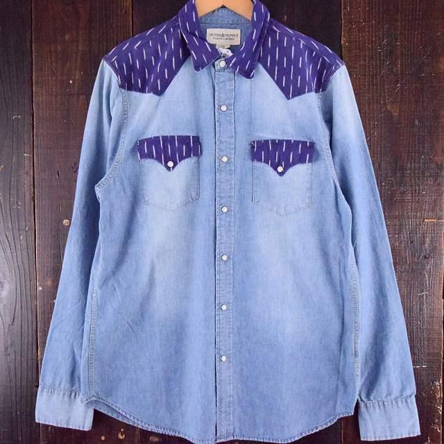 画像1: 【20%OFF】 Ralph Lauren DENIM&SUPPLY ウエスタンヨーク 切り替えシャンブレーシャツ (1)