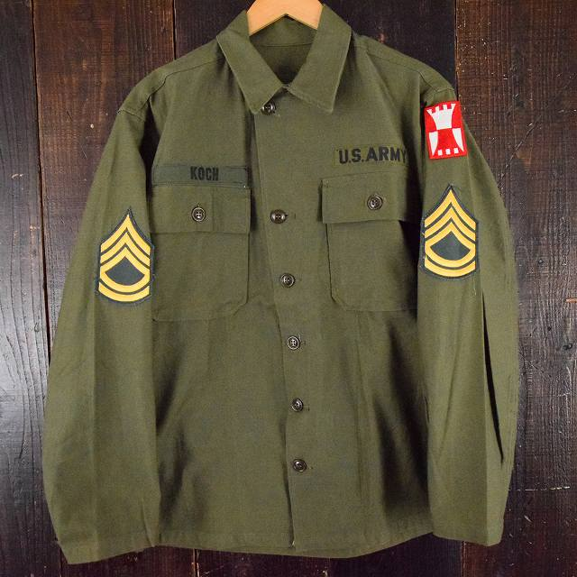 画像1: 50's US.ARMY ユーティリティシャツ 1st 初期 パッチ付き S DEADSTOCK (1)