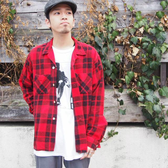 画像1: 60's Leesure Wear by Lee チェック柄 プリントネル ボックスシャツ (1)