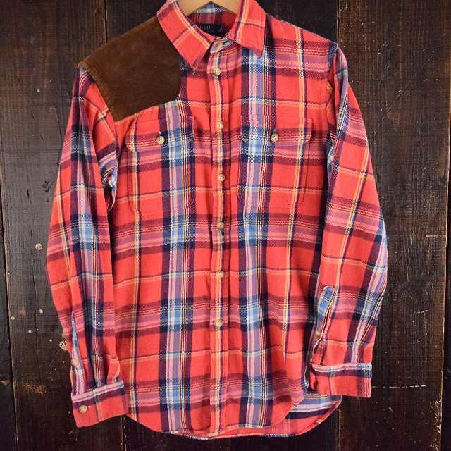 画像1: Ralph Lauren レザーガンパッチ付き チェック柄ネルシャツ S (1)
