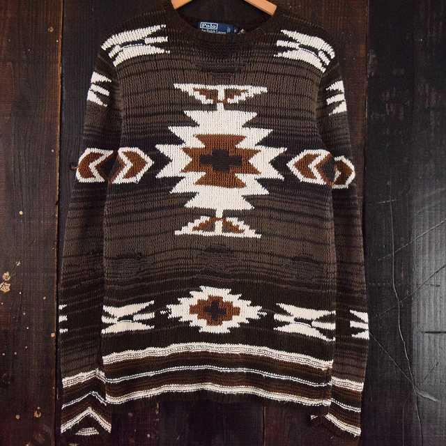 画像1: Ralph Lauren ネイティブ柄ハンドニットセーター  (1)