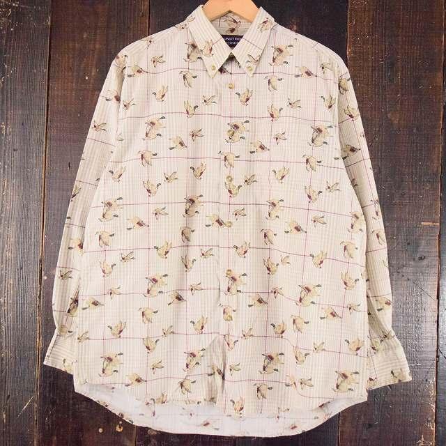 画像1: カモ柄 ギンガムチェックコットンシャツ (1)