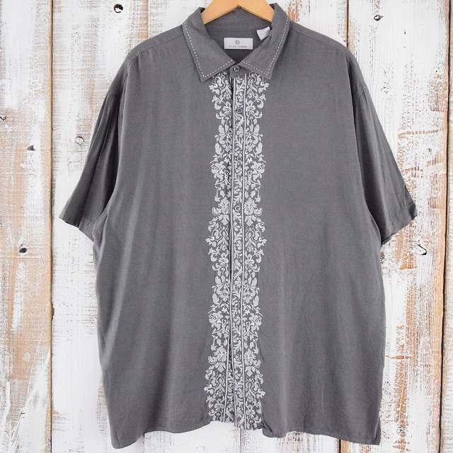 画像1: 刺繍デザインシルクシャツ XXL (1)