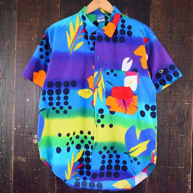 画像1: 80's Ocean Pacific USA製 総柄コットンシャツ (1)