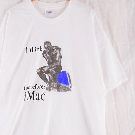 """画像1: Apple iMac """"I think therefore iMac"""" 考える人プリントTシャツ 2XL (1)"""