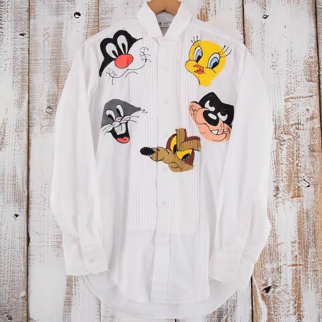 画像1: LOONEY TUNES ハンドペイント ドレスシャツ S (1)