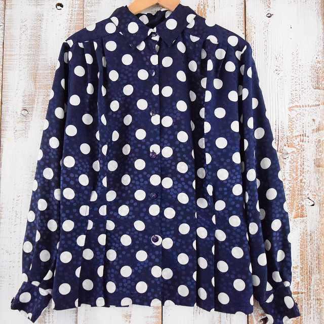画像1: ドット柄 プリーツデザインシャツ (1)