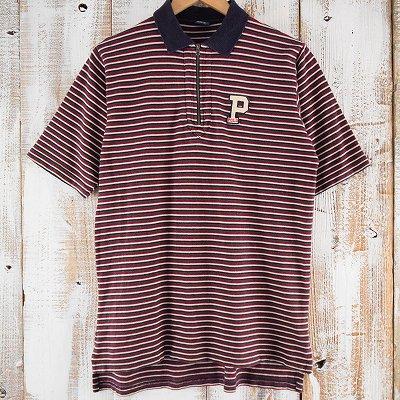 画像1: POLO Ralph Lauren ボーダー柄 ハーフジップシャツ XL (1)