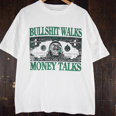 """画像1: """"BULLSHIT WALKS MONEY TALKS"""" 紙幣風プリントTシャツ (1)"""