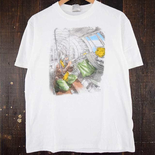画像1: 90's ミリタリー風イラストプリントTシャツ (1)