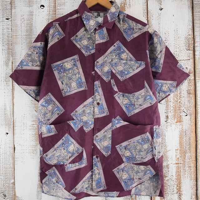 画像1: KENNINGTON トランプ柄シルクシャツ (1)