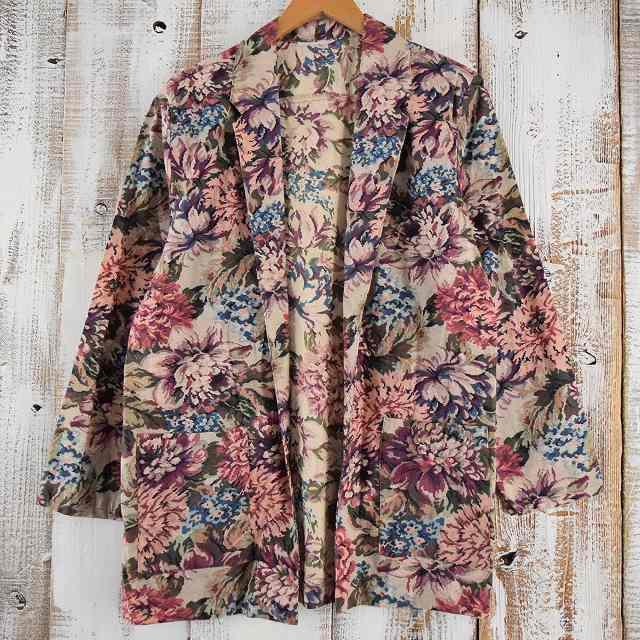 画像1: 花柄 ポケット付き テーラードジャケット (1)