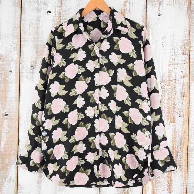 画像1: 花柄 デザインオープンカラーシャツ (1)