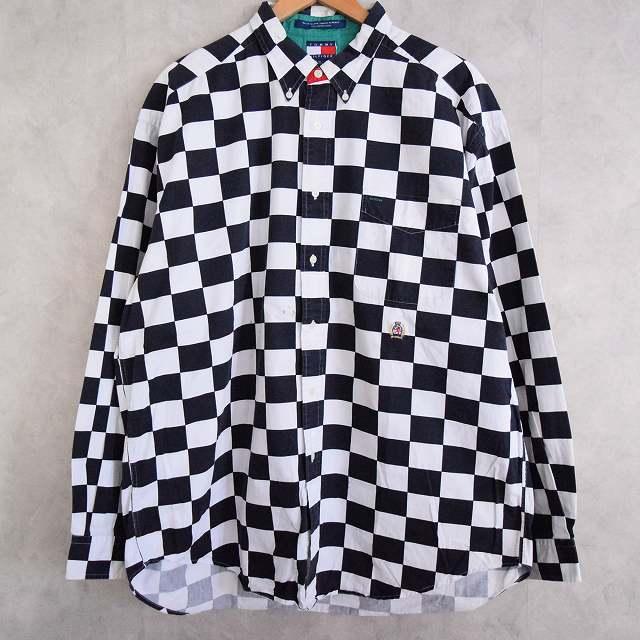 画像1: 90's TOMMY HILFIGER チェッカー柄 コットンシャツ XL (1)
