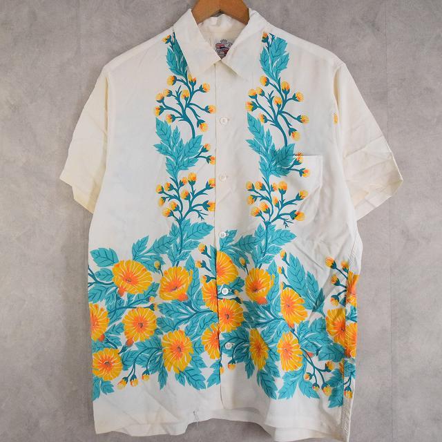 画像1: 40's Duke Kahanamoku chrysanthemum(菊) Hawaiian shirts (1)