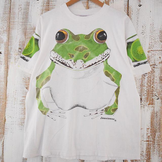 画像1: 80's Zoosloose USA製 カエルプリントTシャツ XL (1)