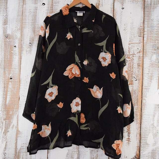 画像1: USA製 花柄 シースルーシャツ (1)